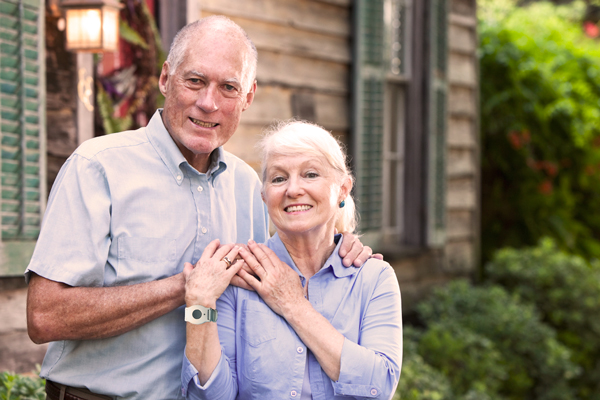 Senior Couple with Medical Alert Systems
